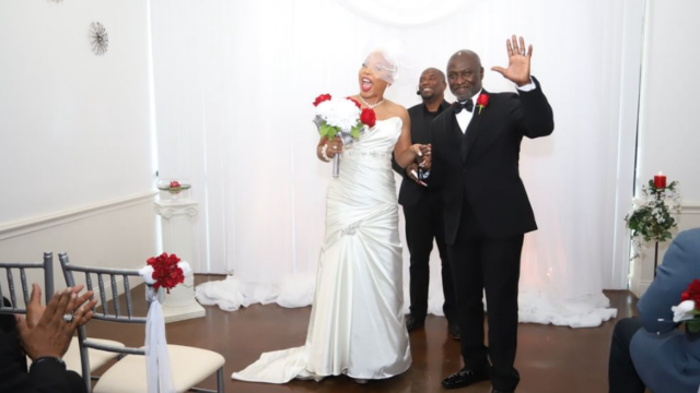black couple at wedding at Eventfully Yours venue in Dallas Texas